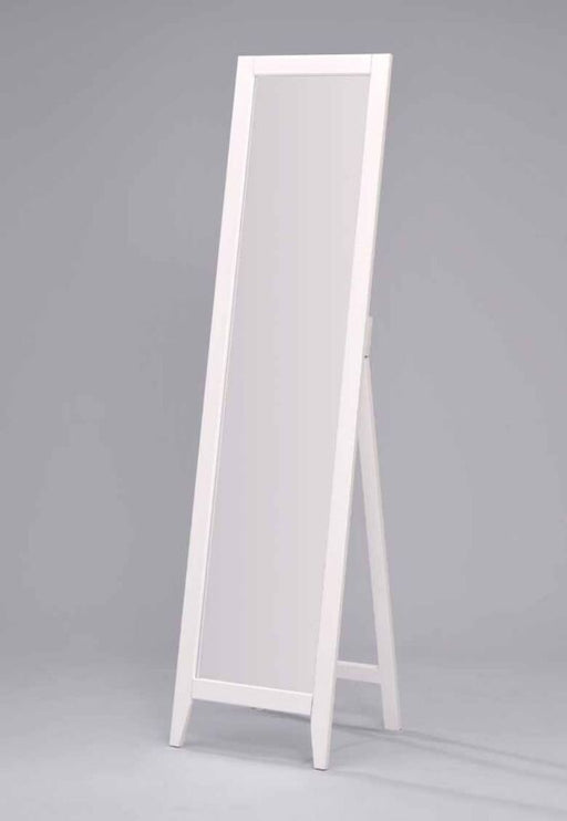 White Finish Solid Wood Frame Free Standing Floor Mirror