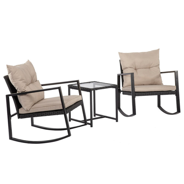 Set of 3 Rattan Patio Furniture Rocking Wicker Bistro For Yard
