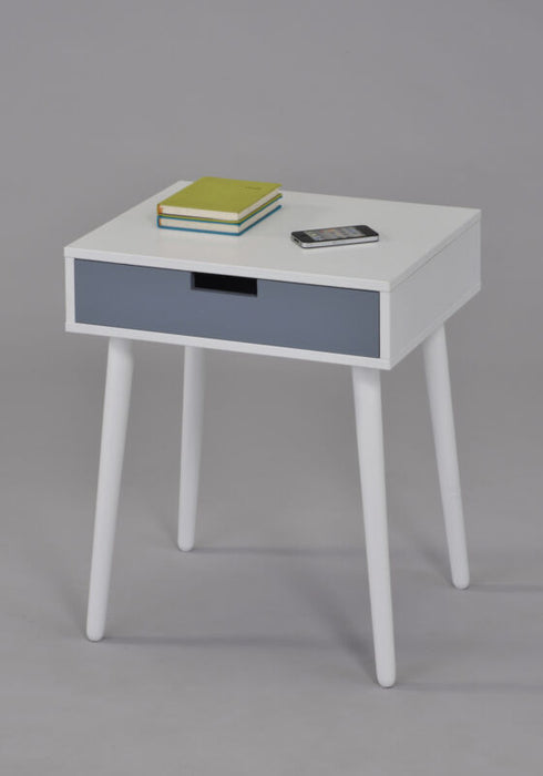 White / Grey Finish Wood Side End Table Night Stand With Drawer