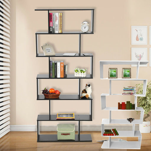 6-Tier Wood Bookcase Storage Shelving S Shape