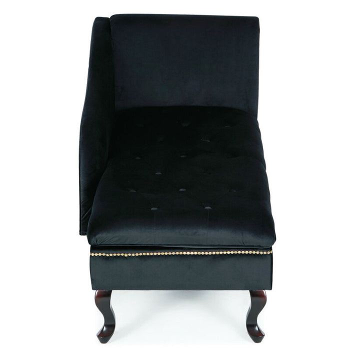 (Black) Velveteen Button Tufted Storage Chaise Lounge Chair Couch