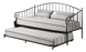 Black Metal Twin Size Day Bed Frame with Trundle & Mattresses