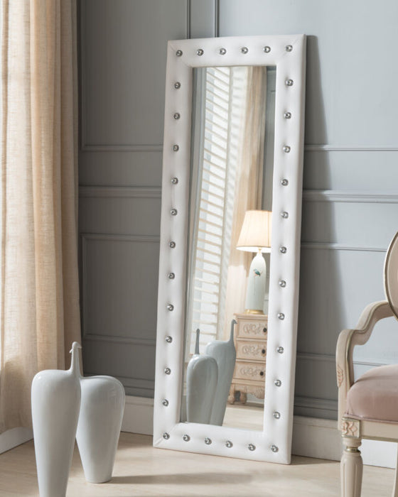 White Vinyl Modern Upholstered Tufted Standing Floor Mirror