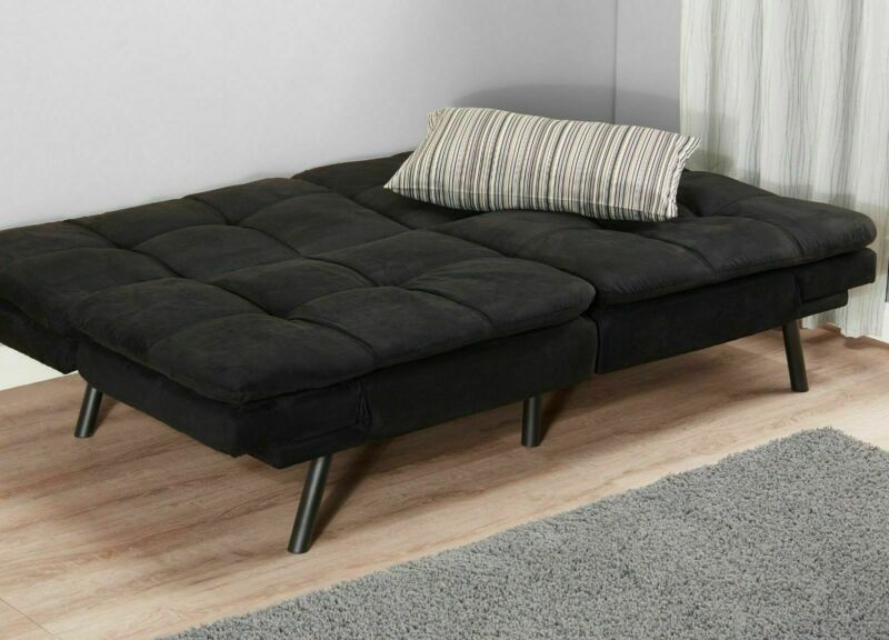 Black Suede Convertible Couch