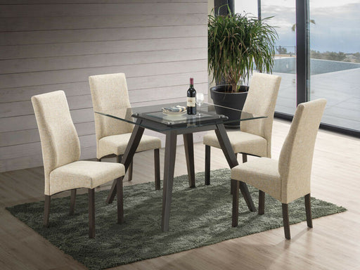 5 Piece Square Dining Set. Table & 4 Chairs, Yellow