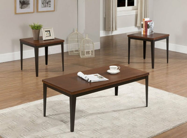 Set of 3 Metal Frame With Cherry Finish Wood Top, 1 Coffee Table & 2 End Tables