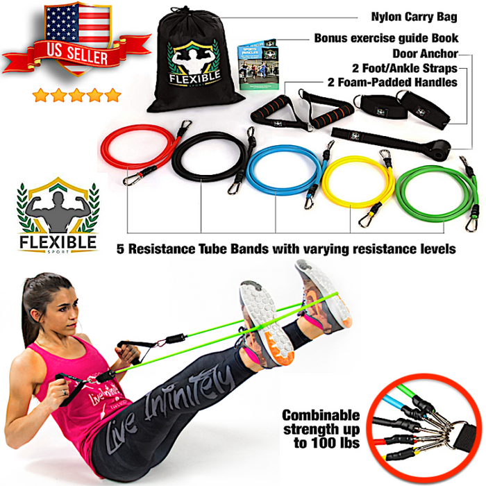 Premium Resistance Band Set Abs Exercise Fitness Yoga Pilates Tube Workout Bands