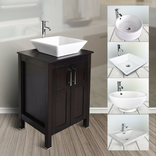 24'' Floor Cabinet Single Top Vessel Sink Basin Faucet Drain Set