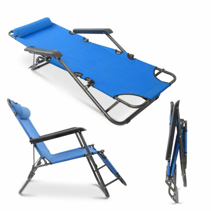 Folding Chaise Lounge Patio Outdoor Yard Beach Lawn Chairs