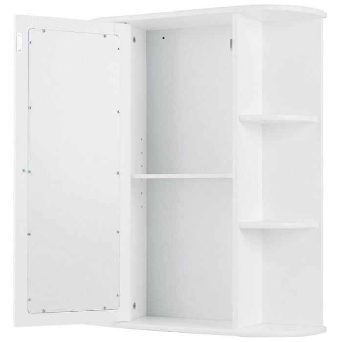 Bathroom Cabinet Single Door Shelves Wall Mount Cabinet W/ Mirror Organizer
