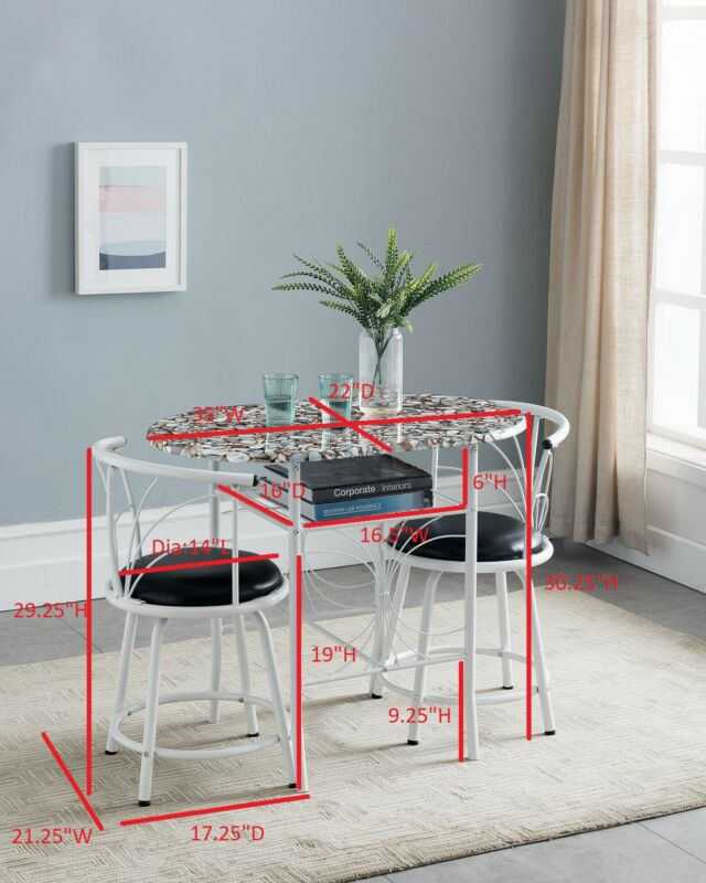 3-Piece Faux Marble Pub Dining Set With Storage (White)