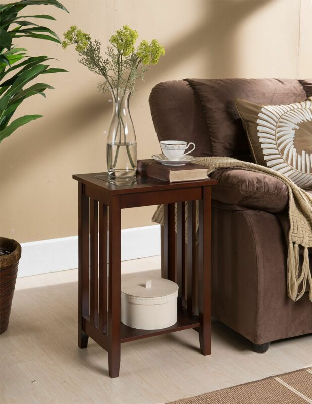 Walnut Finish Wood Chair Side Accent End Table