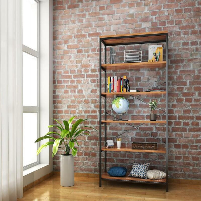 5-Tier Bookcase Leaning Wall Shelf Shelving Organizer