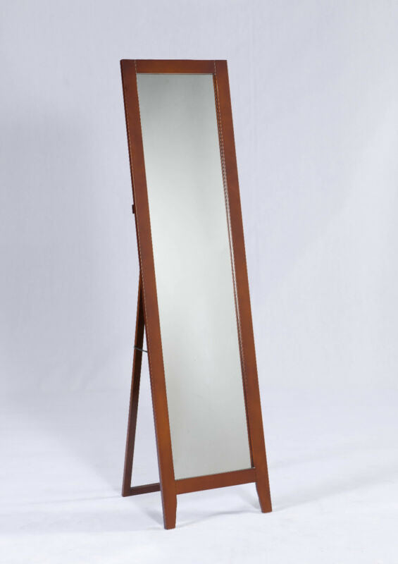 Brown Finish Wood Frame Floor Standing Mirror