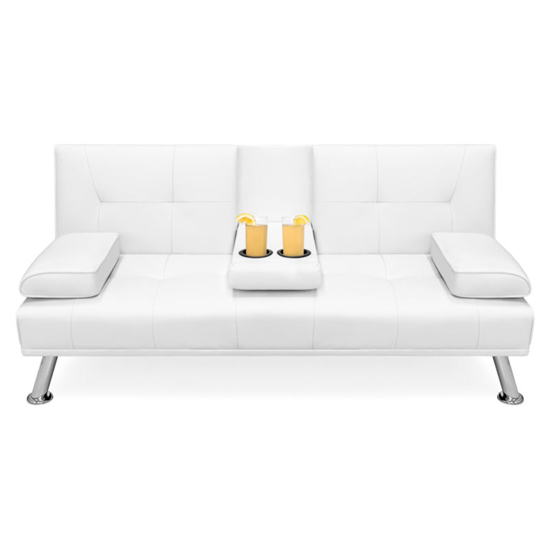 Faux Leather Convertible Futon Sofa Bed With 2 Cup Holders Toyzor