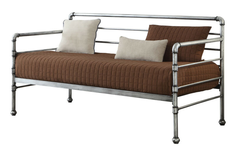 Brushed Silver Metal Twin Size Daybed with Trundle Bed