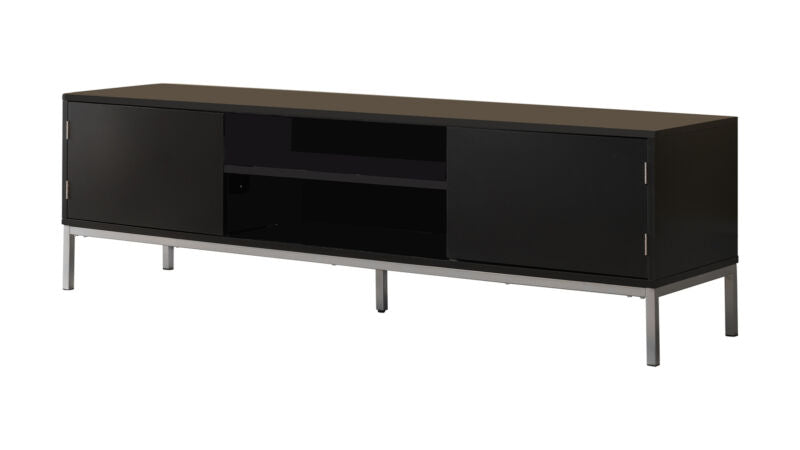 "Black Silver 60"" Wood TV Stand Storage Console"