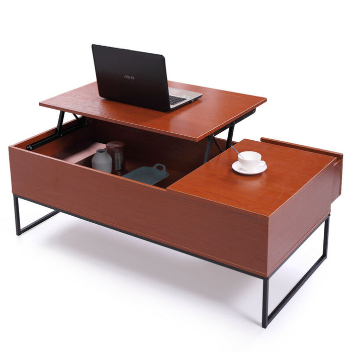 Wood Tea Table Lift Top Coffee Desk W/Storage Drawer