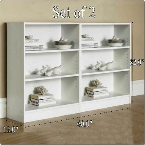 3 Shelf Wide White Bookshelf Adjustable Shelving Storage Rack Set of 2