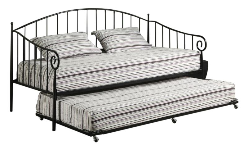 Black Metal Twin Size Day Bed Frame with Trundle