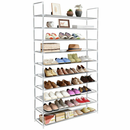 50 Pair 10 Tier Space Saving Storage Organizer Shoe Tower Rack