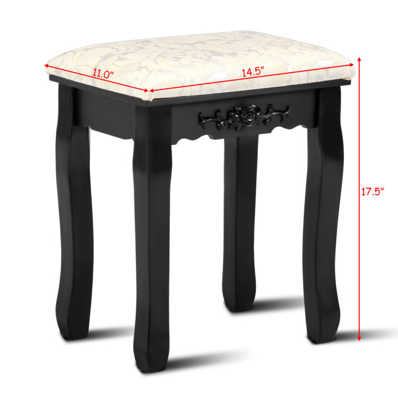 Dressing Stool Vanity Wave Design Makeup Pad Cushioned Chair