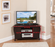 Espresso Finish Wood Corner TV Stand Entertainment Center