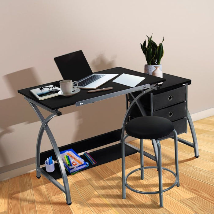 Adjustable Drawing/Drafting Desk Board and Stool with Storage - Toyzor.com