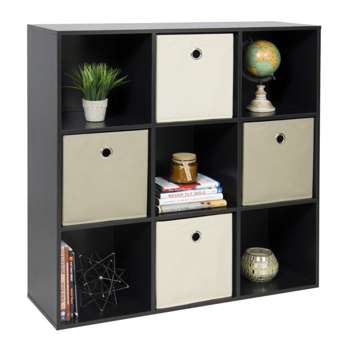 Bookshelf Display Storage Organizer w/ Removable Back Panels (Black)