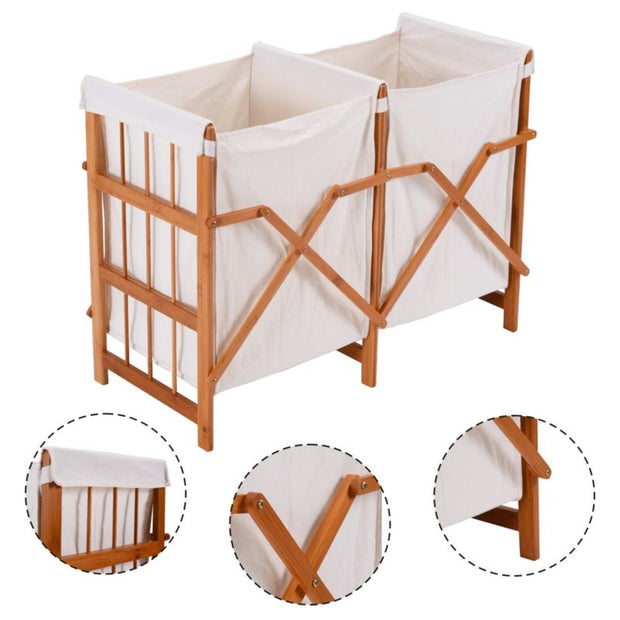 Folding Bamboo Laundry Hamper - 2 Bins