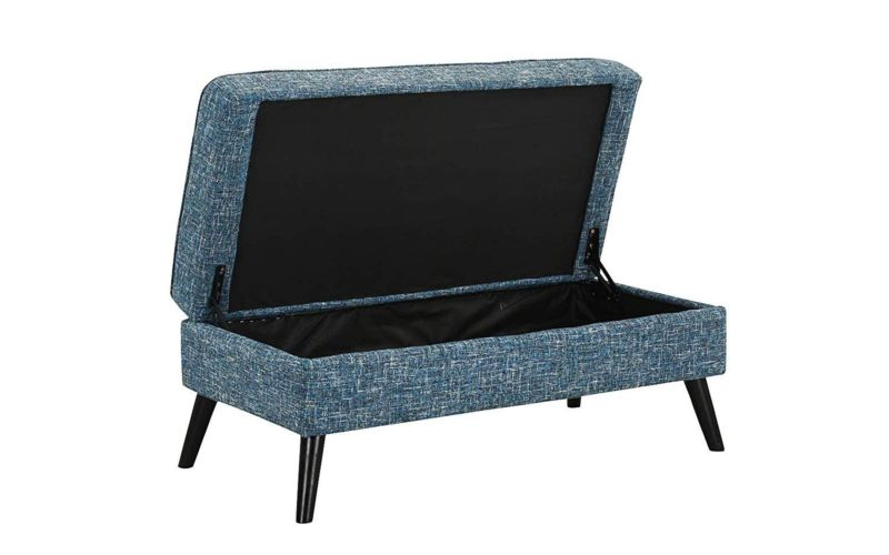 Upholstered Modern Loveseat with Storage Ottoman/Foot Stool