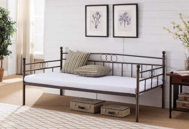 Metal Twin Size Daybed Frame with Metal Slats Support