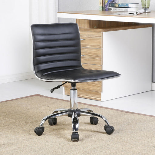 Modern Mid-Back Black Ribbed Upholstered PU Leather Executive Office Chair