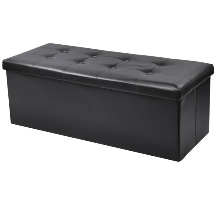 Folding Storage Ottoman Faux Leather Large Bench Black Footstool