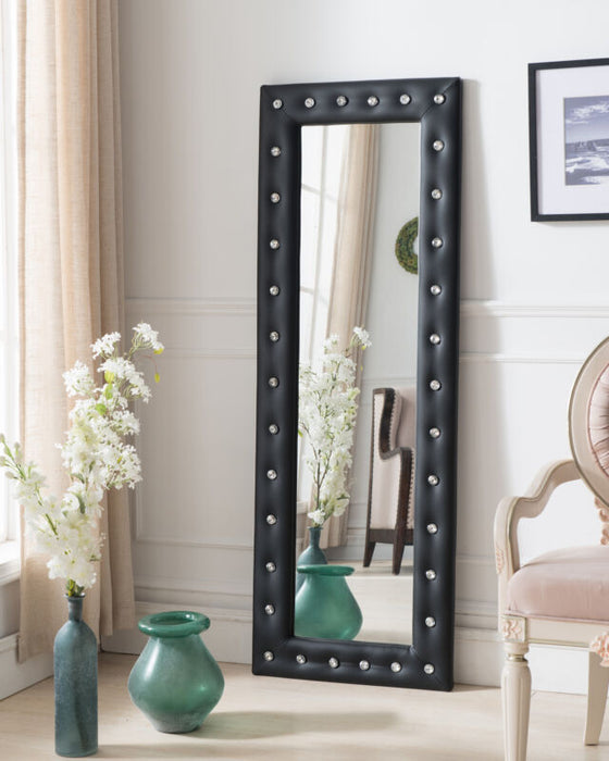Black Vinyl Modern Upholstered Tufted Standing Floor Mirror