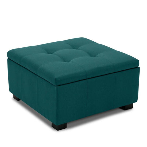 (Teal) Upholstered Storage Tufted Ottoman Foot Bench