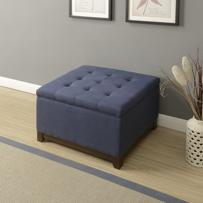 Navy Luxurious Tufted Top Storage Ottoman Stool Seat Footrest Bench Linen