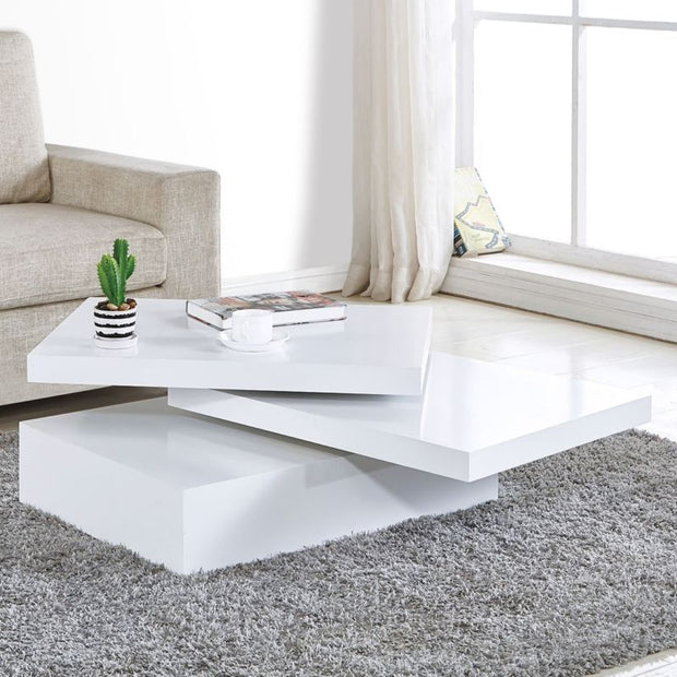 Contemporary Rotating Coffee Table - White - Toyzor.com