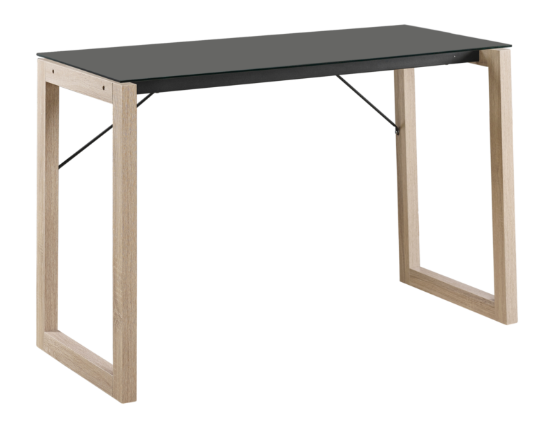 Black Tempered Glass/Natural Wood Home Office Computer Desk