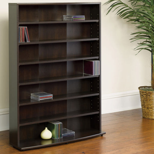 Multimedia Wall Bookcase Organizer Bookshelf Tower (Black Wood )