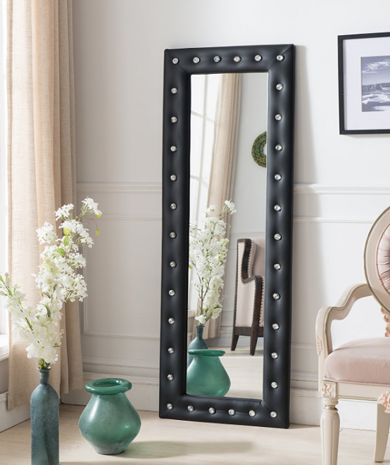 Black Leather Full Length Floor Mirror Standing Lounge Bedroom Dressing Leaning