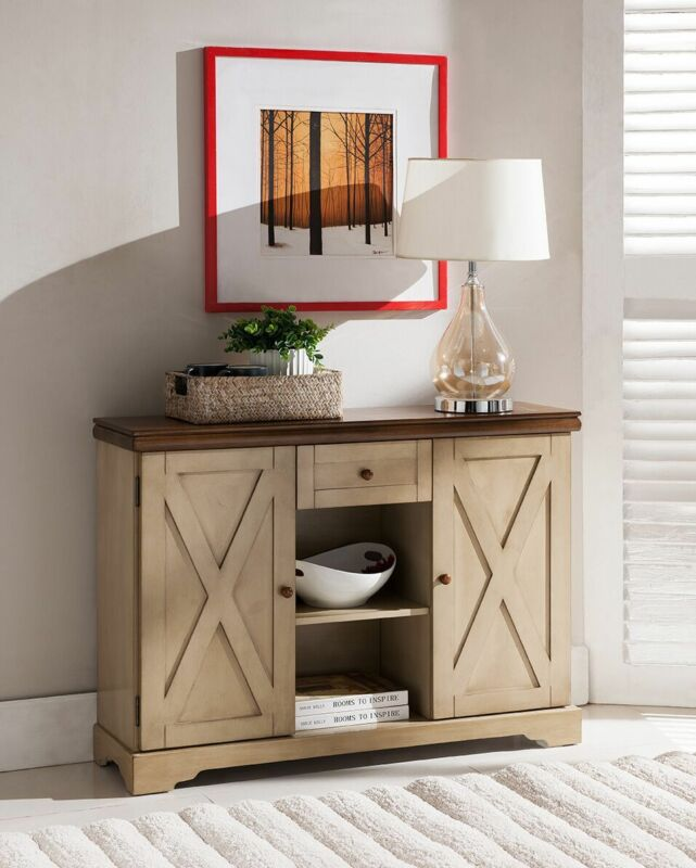 Buffet Cabinet Console Table Antique White/Walnut