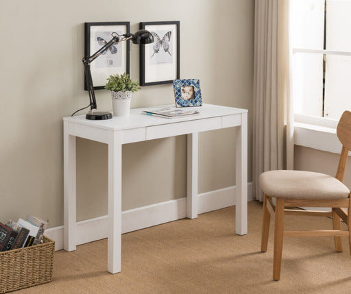 White Finish Wood Single Drawer Parsons Desk