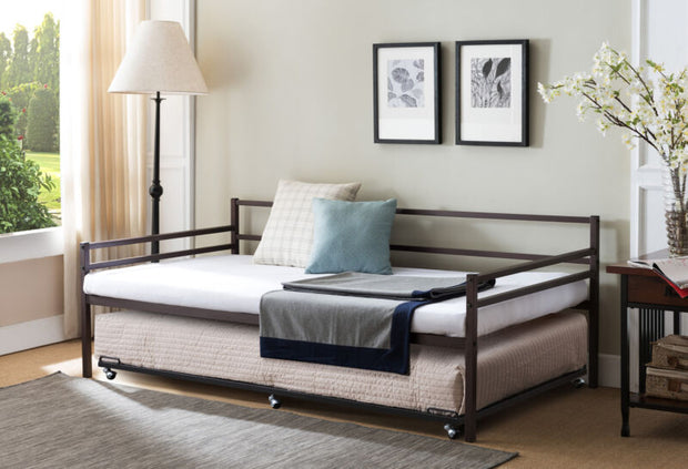 Modern Metal Twin Size Daybed Frame with Trundle Bed