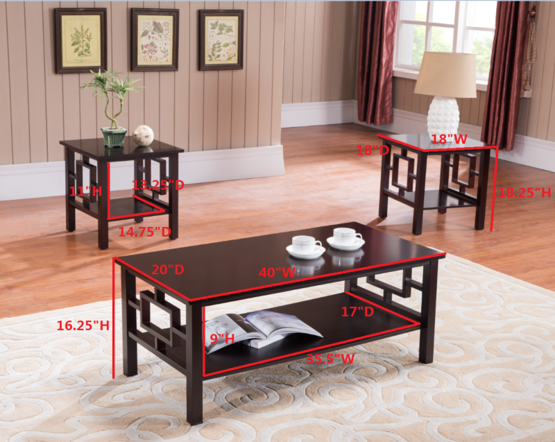 Finish Wood Coffee Table & 2 End Tables Occasional Set
