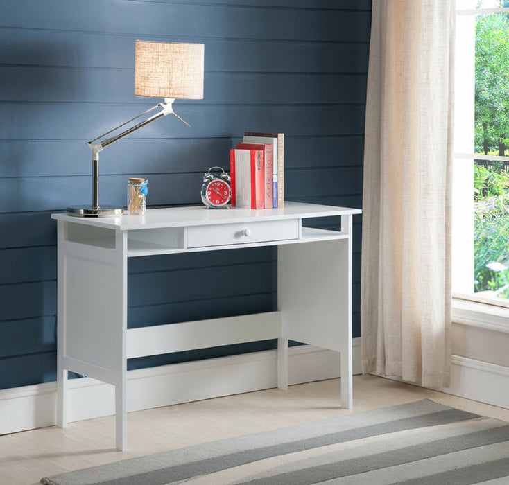 White Finish Wood Home & Office Parsons Desk with Drawer