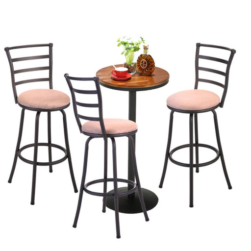 Barstool Set of 3 High Back Swivel Bar Chair