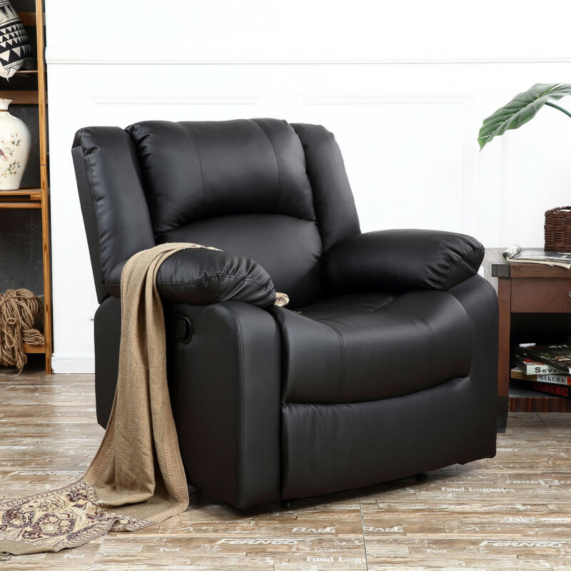 Classic Bonded Leather Oversize Padding Recliner Chair (Black)