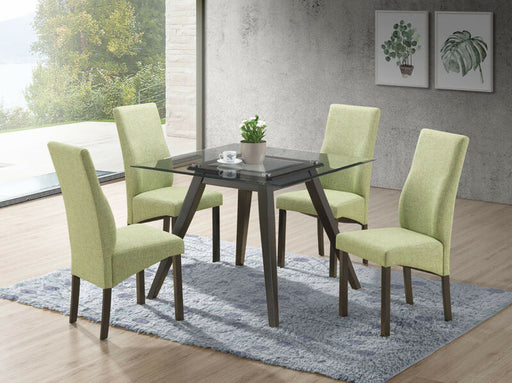 5 Piece Square Dining Set. Table & 4 Chairs, Green