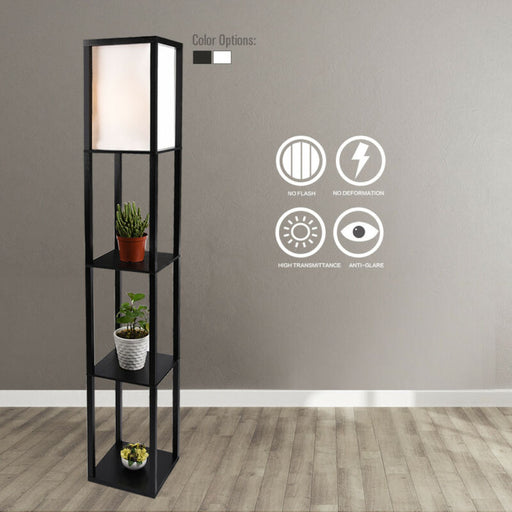 Wood Floor Lamp Linen Shade Shelf Storage Organizer